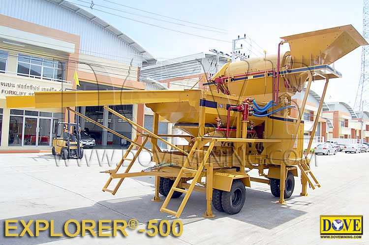 Small scale mining equipment, DOVE Portable plant for alluvial mining in the factory