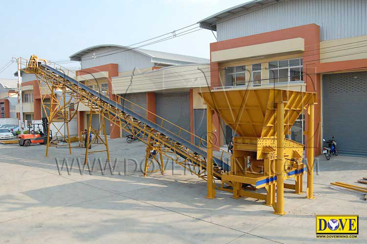 DOVE Feed Hopper and Belt Conveyor at the factory
