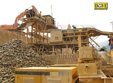 Alluvial gold mining plant in Laos