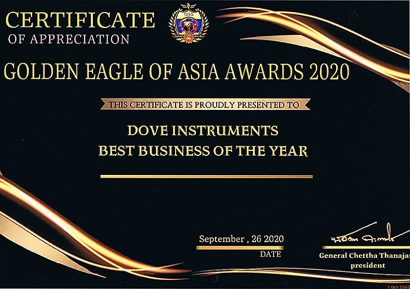 DOVE Instruments Best Business of The Year 2020 Award